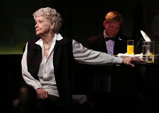 FILE - This April 2, 2013 file image released by the O+M Company shows Elaine Stritch performing her final engagement at the Cafe Carlyle in New York with Rob Bowman at the piano. (AP)