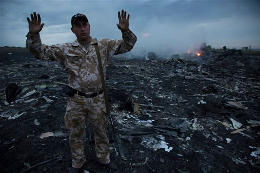 A man gestures at a crash site of a passenger plane near the village of Hrabove, Ukraine, Thursday, July 17, 2014. (AP)
