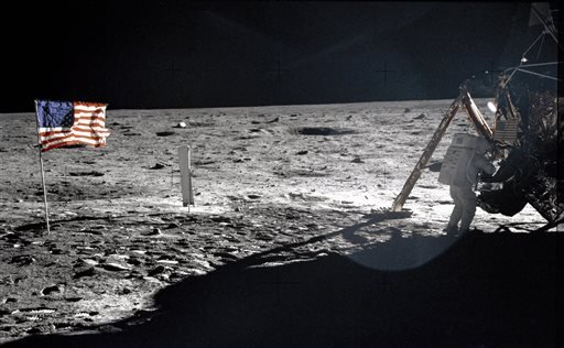 This July 20, 1969 file photo provided by NASA shows Apollo 11 astronaut Neil Armstrong on the lunar surface.