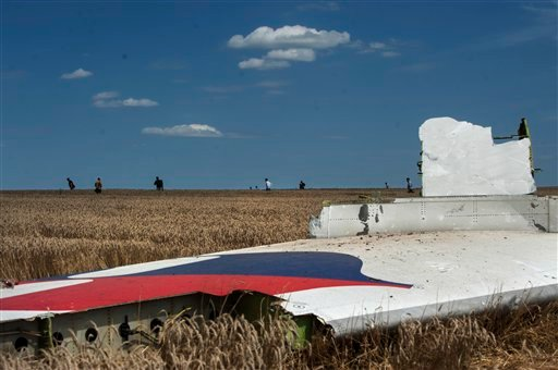 A piece of the crashed Malaysia Airlines Flight 17 lies in the grass near the village of Hrabove, eastern Ukraine, Sunday, July 20, 2014.