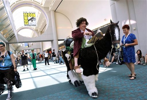 In this July 18, 2013 file photo, Karl Zingh, of San Diego, makes his way through the crowd during Day 2 of Comic-Con International in San Diego.