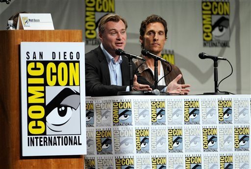 "Director Christopher Nolan, left, and actor Matthew McConaughey attend the ""Paramount Pictures"" panel on Day 1 of Comic-Con International on Thursday, July 24, 2014, in San Diego. (Photo by Chris Pizzello/Invision/AP)"