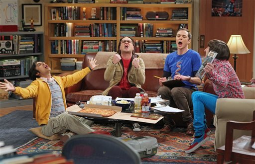 "This publicity image released by CBS shows, from left, Kunal Nayyar, Johnny Galecki, Jim Parsons and Simon Helberg in a scene from ""The Big Bang Theory."" (AP)"