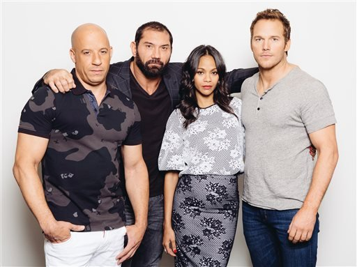 "In this Saturday, July 19, 2014 photo, guardian cast members, from left, Vin Diesel, Dave Bautista, Zoe Saldana, and Chris Pratt pose for a portrait at Disney Studios during press day for ""Guardians of the Galaxy,"" in Burbank, Calif."