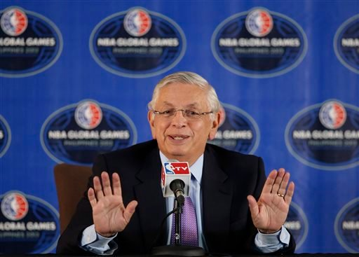 In this Oct. 10, 2013 file photo, NBA Commissioner David Stern answers questions from reporters at a news conference in Pasay city, south of Manila, Philippines.