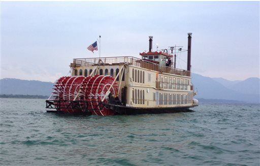 This Monday, Aug. 4, 2014 photo provided by the U.S. Coast Guard shows the Tahoe Queen tour boat that was stranded on a sandbar on the California side of Lake Tahoe. (AP Photo/U.S. Coast Guard)