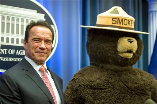 Smokey Bear is turning 70 on Saturday Aug. 9, 2014 but don't bring any candles to the party, please. (AP Photo/Cliff Owen, file)