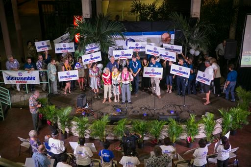 Hawaii Gov. Neil Abercrombie speaks to supporters after giving a concession speech to fellow Democrat and Hawaii State Sen. David Ige at Abercrombie headquarters, Saturday, Aug. 9, 2014 in Honolulu. (AP Photo/Marco Garcia)