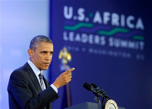 This Aug. 6, 2014, file photo shows President Barack Obama as he takes a question at a news conference at the end of the U.S. Africa Leaders Summit at the State Department in Washington.