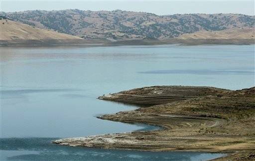 This June 8, 2014, photo shows low water levels at the San Luis Reservoir near Gustine, Calif.