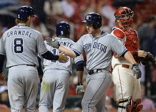 San Diego Padres' Jedd Gyorko, second from right, is congratulated by teammates Yasmani Grandal (8) and Abraham Almonte (16) after his grand slam as St. Louis Cardinals' A.J. Pierzynski, right, looks away in the seventh inning in a baseball game, Saturday