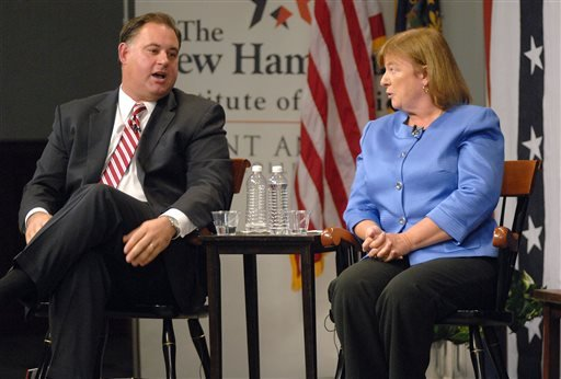 This Sept. 17, 2012, file photo shows then incumbent Rep. Frank Guinta, R-N.H., and then Democratic challenger Carol Shea-Porter as they debate during the 1st Congressional District forum at St. Anselm College in Manchester, N.H.