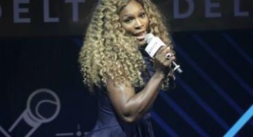 Tennis player Serena Williams performs onstage at the Delta Open Mic with Serena Williams event on Wednesday, Aug. 20, 2014 in New York. (Photo by Andy Kropa/Invision/AP)