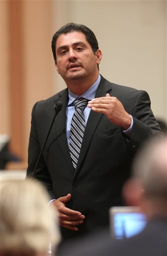 In this photo taken Monday, Aug. 18, 2014, is state Sen. Ben Hueso, D-San Diego, who was arrested on charges of drunken driving in Sacramento, Calif.