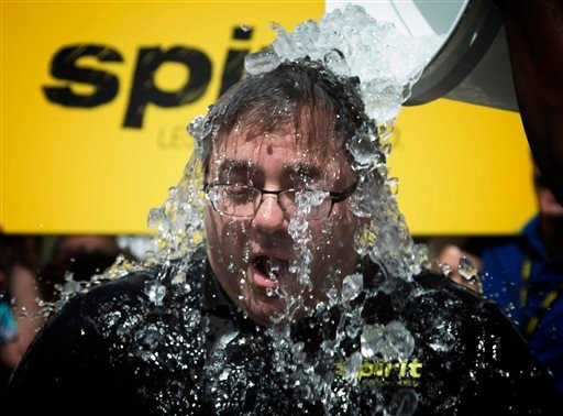 This Aug. 18, 2014 file photo shows Spirt Airlines President and CEO, Ben Baldanza taking the Ice Bucket Challenge at the company's Miramar, Fla. headquarters.