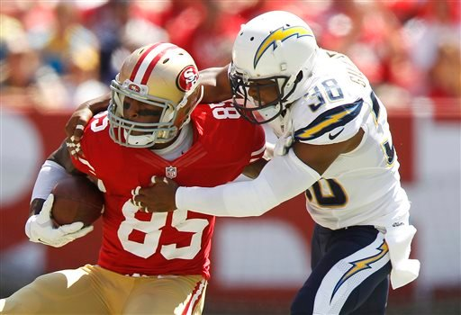 San Francisco 49ers tight end Vernon Davis (85) runs against San Diego Chargers strong safety Marcus Gilchrist (38) during the second quarter of an NFL preseason football game in Santa Clara, Calif., Sunday, Aug. 24, 2014. (AP Photo/Mathew Sumner)