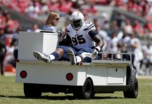 San Diego Chargers defensive tackle Kwame Geathers is carted off the field during the first quarter of an NFL preseason football game against the San Francisco 49ers in Santa Clara, Calif., Sunday, Aug. 24, 2014. (AP Photo/Marcio Jose Sanchez)