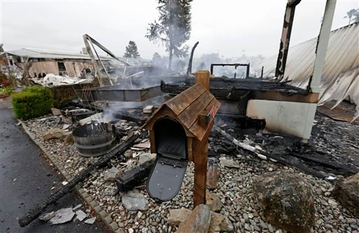 A mailbox is all that remains of one of four mobile homes which were destroyed in a gas fire Sunday, Aug. 24, 2014, at the Napa Valley Mobile Home Park, in Napa, Calif.