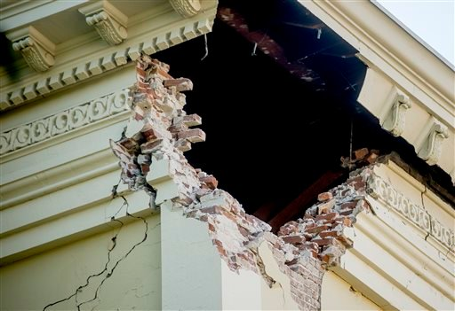 A corner of the historic Napa County Courthouse sits exposed following an earthquake Sunday, Aug. 24, 2014, in Napa, Calif.