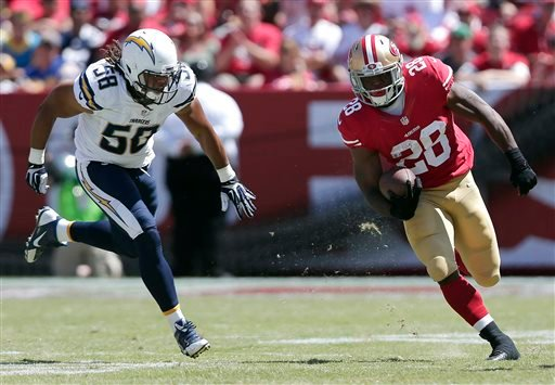 San Francisco 49ers running back Carlos Hyde (28) runs from San Diego Chargers outside linebacker Tourek Williams (58).