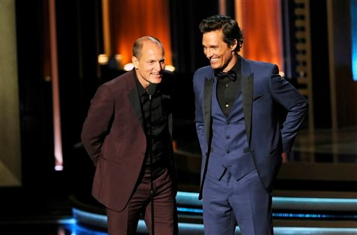 Woody Harrelson, left, and Matthew McConaughey present the award for outstanding lead actor in a miniseries or a movie on stage at the 66th Annual Primetime Emmy Awards at the Nokia Theatre L.A. Live on Monday, Aug. 25, 2014, in Los Angeles.