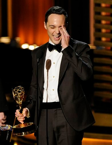 """Jim Parsons accepts the award for outstanding lead actor in a comedy series for his work on """"The Big Bang Theory"""" at the 66th Annual Primetime Emmy Awards at the Nokia Theatre L.A. Live on Monday, Aug. 25, 2014, in Los Angeles."""