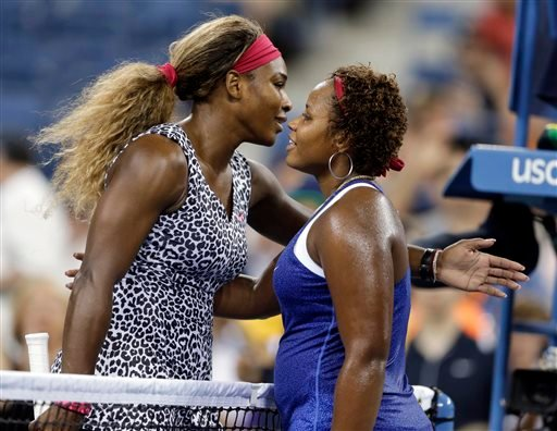 Serena Williams, of the United States, is congratulated by Taylor Townsend, of the United States, after Williams defeated Townsend 6-3, 6-1 in the first round of the U.S. Open tennis tournament Aug. 26, 2014, in New York. (AP Photo/Darron Cummings)