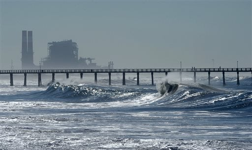 Waves pound Hueneme Beach in Port Hueneme, Calif., Wednesday, Aug. 27, 2014. (AP Photo/Ventura County Star, Rob Varela)