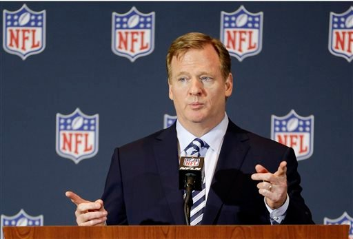 In this March 25, 2014, file photo, NFL Commissioner Roger Goodell answers questions during a news conference at the NFL football annual meeting in Orlando, Fla.