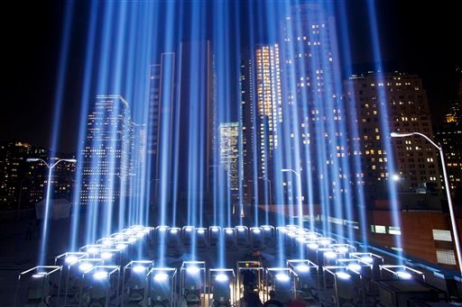 In this Sept. 10, 2013 file photo, the Tribute in Light rises into the night sky during a test in New York.