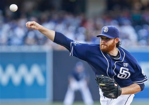 San Diego Padres starting pitcher Ian Kennedy works against the Los Angeles Dodgers in the first inning of a baseball game Saturday, Aug. 30, 2014, in San Diego. (AP Photo/Lenny Ignelzi)