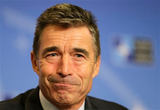 NATO Secretary General Anders Fogh Rasmussen addresses the media ahead of the NATO summit in Wales, at the Residence Palace in Brussels, Monday Sept. 1, 2014.