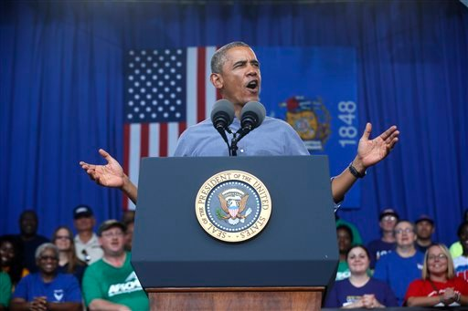 President Barack Obama speaks at Laborfest 2014 at Henry Maier Festival ParkMilwaukee, Wis., on Labor Day, Monday, Sept. 1, 2014.(AP Photo/Charles Dharapak)