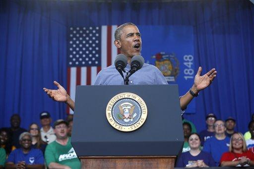 President Barack Obama speaks at Laborfest 2014 at Henry Maier Festival ParkMilwaukee, Wis., on Labor Day, Monday, Sept. 1, 2014.(AP Photo/Charles Dharapak)