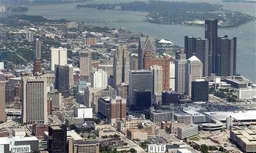 In this July 16, 2013 aerial file photo, the downtown of the city of Detroit is shown.