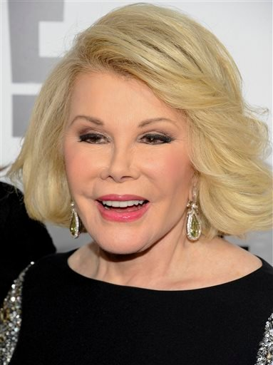 April 30, 2012 file photo: Joan Rivers attends an E! Network event in New York. Joan Rivers' family said the comedian has been moved from intensive care into a private room.(AP Photo/Evan Agostini, File)