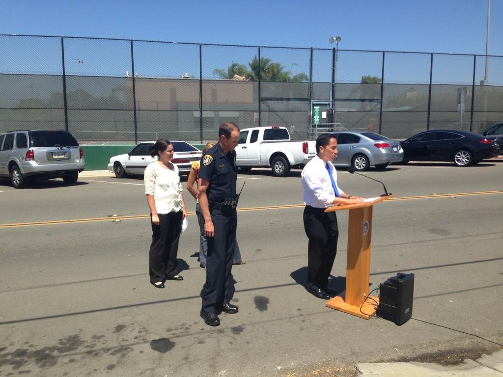 City Council President Todd Gloria announces safety upgrades to North Park due to a string of violent attacks on women. (Friday, September 5, 2014/ Photo courtesy: @ShannonCBS8)