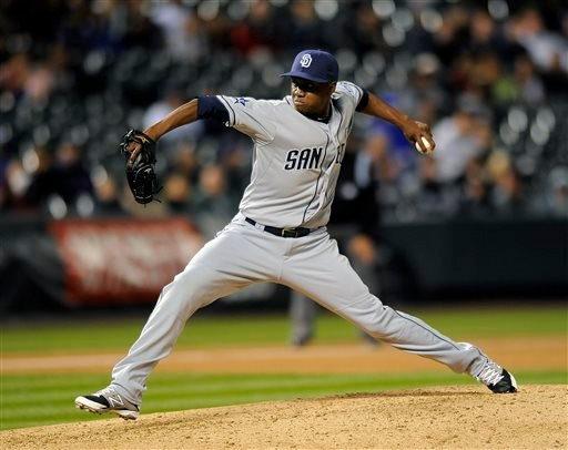 San Diego Padres relief pitcher Frank Garces throws in the seventh inning of a baseball game against the Colorado Rockies on Friday, Sept. 5, 2014, in Denver. (AP Photo/Chris Schneider)