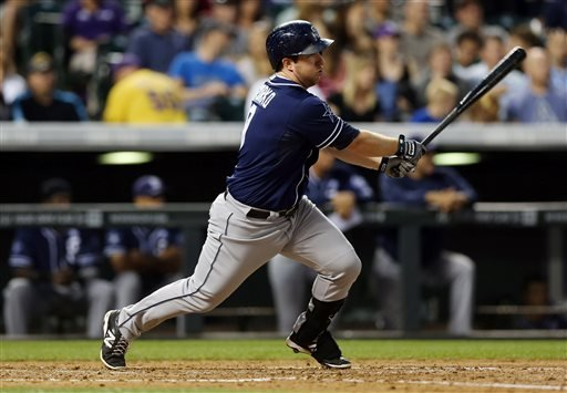 San Diego Padres' Jedd Gyorko follows the flight of his RBI-single against the Colorado Rockies in the fourth inning of a baseball game in Denver on Saturday, Sept. 6, 2014. (AP Photo/David Zalubowski)