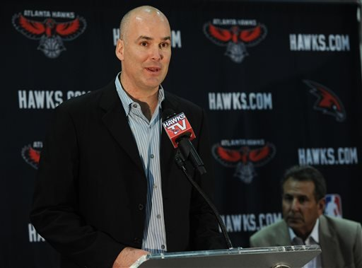 In this June 25, 2012, file photo, Atlanta Hawks president of operations and general manager Danny Ferry speaks during a news conference in Atlanta, as team co-owner Bruce Levenson, right, looks on.