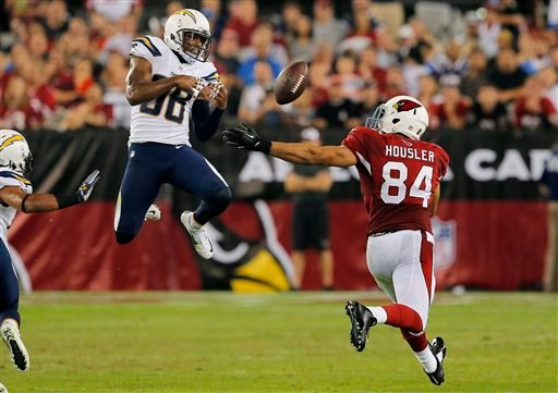 San Diego Chargers strong safety Marcus Gilchrist (38) breaks up a pass intended for Arizona Cardinals tight end Rob Housler (84) during the second half of an NFL football game, Monday, Sept. 8, 2014, in Glendale, Ariz. (AP Photo/Rick Scuteri)