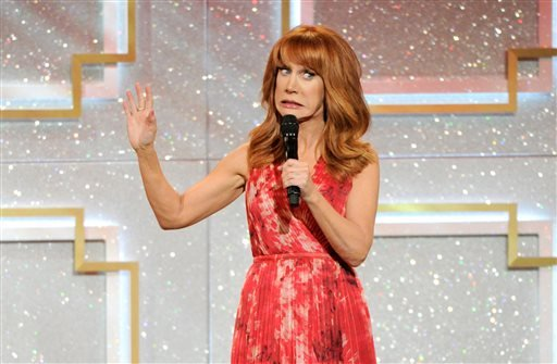 In this June 22, 2014 file photo, host Kathy Griffin speaks on stage at the 41st annual Daytime Emmy Awards at the Beverly Hilton Hotel, in Beverly Hills, Calif.