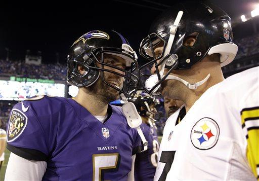 Baltimore Ravens quarterback Joe Flacco, left, and Pittsburgh Steelers quarterback Ben Roethlisberger talk on the field after an NFL football game Thursday, Sept. 11, 2014, in Baltimore. The Ravens won 26-6. (AP Photo/Patrick Semansky)