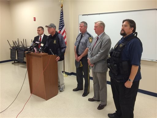 State police Commissioner Frank Noonan, addresses the media on Saturday, Sept. 13, 2014 in Blooming Grove, Pa.