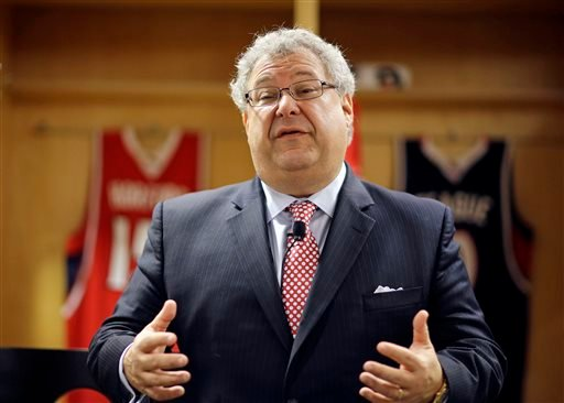 In this April 14, 2014, file photo, Steve Koonin, speaks after being introduced as the new CEO for the Atlanta Hawks NBA basketball team at a press conference in Atlanta.