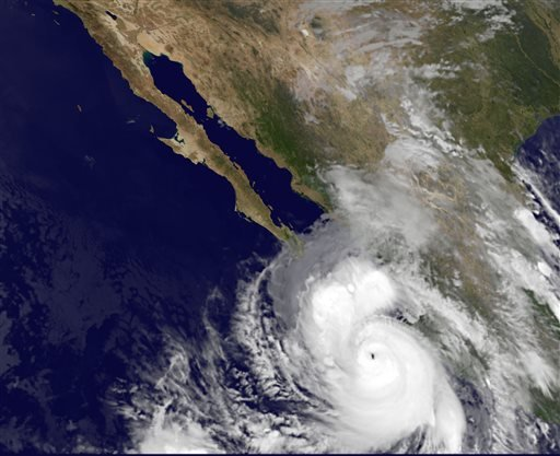 This satellite image provided by NOAA shows category four Hurricane Odile taken at 5:45 a.m. EDT Sunday Sept. 14, 2014.