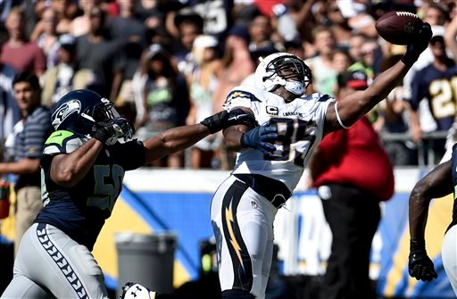 San Diego Chargers tight end Antonio Gates, right, scores past Seattle Seahawks outside linebacker K.J. Wright during the second half of an NFL football game on Sunday, Sept. 14, 2014, in San Diego. (AP Photo/Denis Poroy)