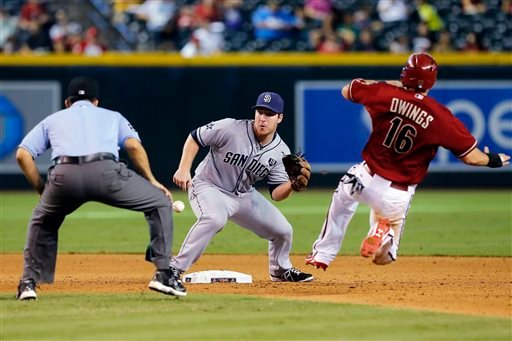 Arizona Diamondbacks Chris Owings (16) gets caught trying to steal secondbase by San Diego Padres second baseman Jedd Gyorko in the seventh inning during a baseball game, Sunday, Sept 14, 2014, in Phoenix. (AP Photo/Rick Scuteri)