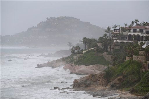 Waves hit the coast of Los Cabos, Mexico, Sunday, Sept. 14, 2014.