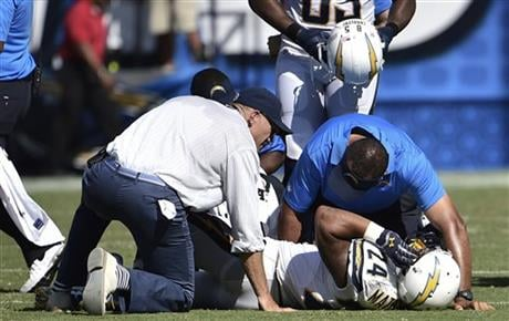 San Diego Chargers running back Ryan Mathews is helped after being injured during the second half of an NFL football game against the Seattle Seahawks, Sunday, Sept. 14, 2014, in San Diego.